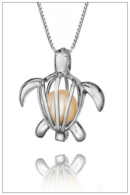 Turtle Sterling Silver Pearl Cage - ©PearlsIsland