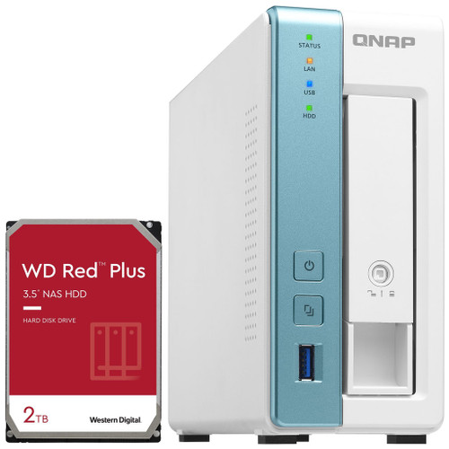 QNAP TS-131K 1-Bay Home NAS with a 2TB Western Digital Red Plus Drive Fully Assembled and Tested