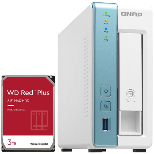 QNAP TS-131K 1-Bay Home NAS with a 3TB Western Digital Red Plus Drive Fully Assembled and Tested
