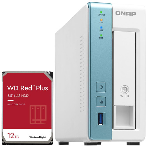 QNAP TS-131K 1-Bay Home NAS with a 12TB Western Digital Red Plus Drive Fully Assembled and Tested