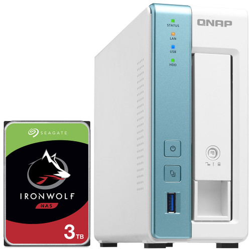 QNAP TS-131K 1-Bay Home NAS with a 3TB Seagate Ironwolf NAS Drive Fully Assembled and Tested