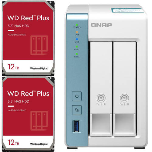 QNAP TS-231K 2-Bay Home NAS with 24TB (2 x 12TB) of Western Digital Red Plus Drives Fully Assembled and Tested