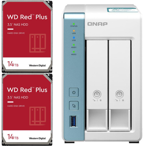 QNAP TS-231K 2-Bay Home NAS with 28TB (2 x 14TB) of Western Digital Red Plus Drives Fully Assembled and Tested
