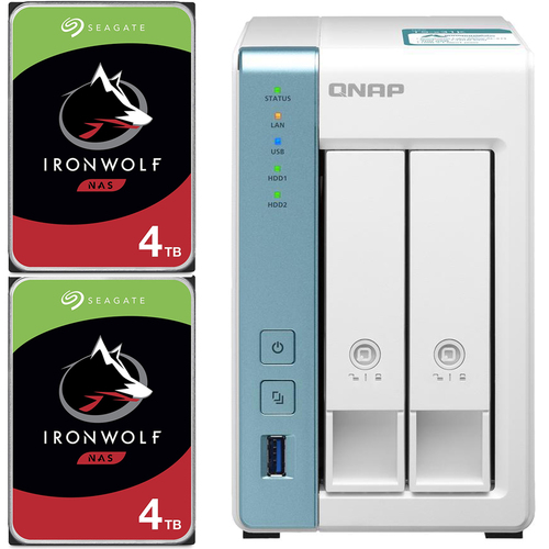 QNAP TS-231K 2-Bay Home NAS with 8TB (2 x 4TB) of Seagate Ironwolf NAS Drives Fully Assembled and Tested