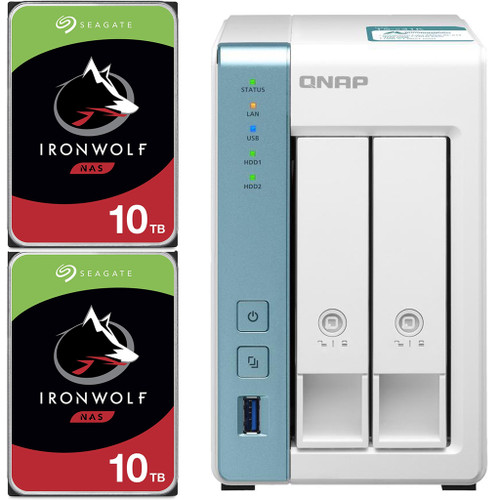 QNAP TS-231K 2-Bay Home NAS with 20TB (2 x 10TB) of Seagate Ironwolf NAS Drives Fully Assembled and Tested