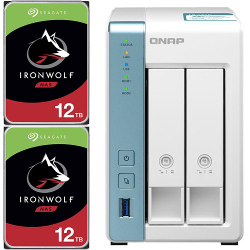 QNAP TS-231K 2-Bay Home NAS with 24TB (2 x 12TB) of Seagate Ironwolf NAS Drives Fully Assembled and Tested