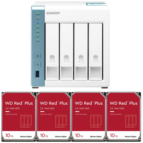 QNAP TS-431K 4-Bay Home NAS with 40TB (4 x 10TB) of Western Digital Red Plus Drives Fully Assembled and Tested
