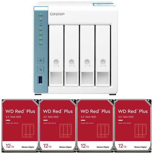 QNAP TS-431K 4-Bay Home NAS with 48TB (4 x 12TB) of Western Digital Red Plus Drives Fully Assembled and Tested