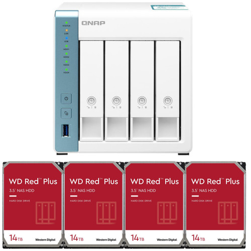 QNAP TS-431K 4-Bay Home NAS with 56TB (4 x 14TB) of Western Digital Red Plus Drives Fully Assembled and Tested