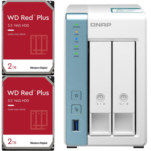 QNAP TS-231K 2-Bay Home NAS with 4TB (2 x 2TB) of Western Digital Red Plus Drives Fully Assembled and Tested