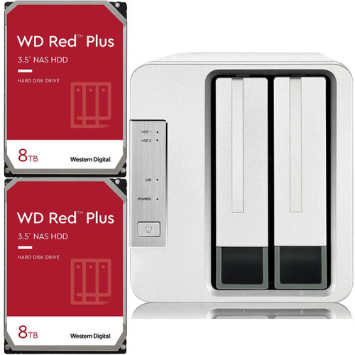 TerraMaster F2-210 2-Bay Home NAS with 16TB (2 x 8TB) of Western Digital Red Plus Drives Fully Assembled and Tested