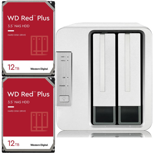 TerraMaster F2-210 2-Bay Home NAS with 24TB (2 x 12TB) of Western Digital Red Plus Drives Fully Assembled and Tested