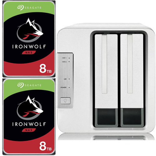 TerraMaster F2-210 2-Bay Home NAS with 16TB (2 x 8TB) of Seagate Ironwolf NAS Drives Fully Assembled and Tested
