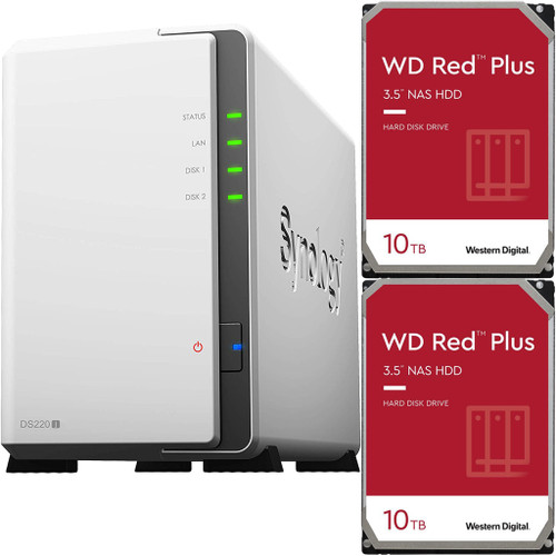 Synology DS220j 2-BAY DiskStation with 20TB (2x10TB) of Western Digital RED PLUS Drives Fully Assembled and Tested