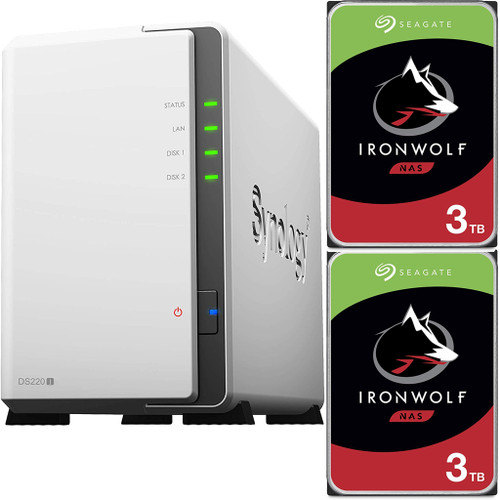 Synology DS220j 2-BAY DiskStation with 6TB (2x3TB) of Seagate Ironwolf NAS Drives Fully Assembled and Tested