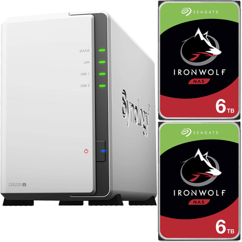 Synology DS220j 2-BAY DiskStation with 12TB (2x6TB) of Seagate Ironwolf NAS Drives Fully Assembled and Tested