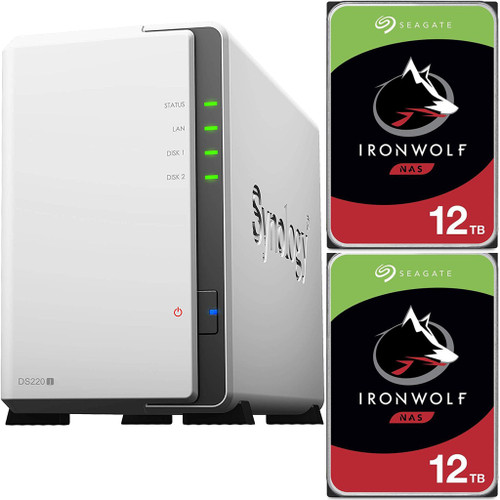 Synology DS220j 2-BAY DiskStation with 24TB (2x12TB) of Seagate Ironwolf NAS Drives Fully Assembled and Tested