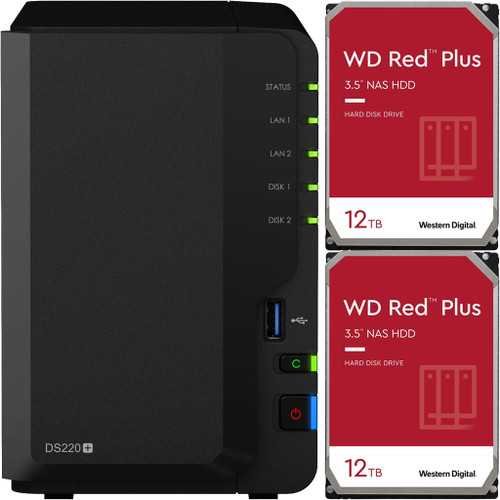 Synology DS220+ 2-BAY DiskStation with 24TB (2x12TB) of Western Digital RED PLUS Drives Fully Assembled and Tested