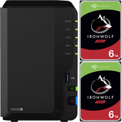 Synology DS220+ 2-BAY DiskStation with 12TB (2x6TB) of Seagate Ironwolf NAS Drives Fully Assembled and Tested