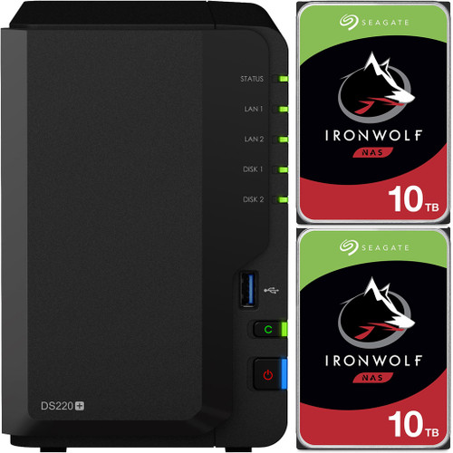 Synology DS220+ 2-BAY DiskStation with 20TB (2x10TB) of Seagate Ironwolf NAS Drives Fully Assembled and Tested