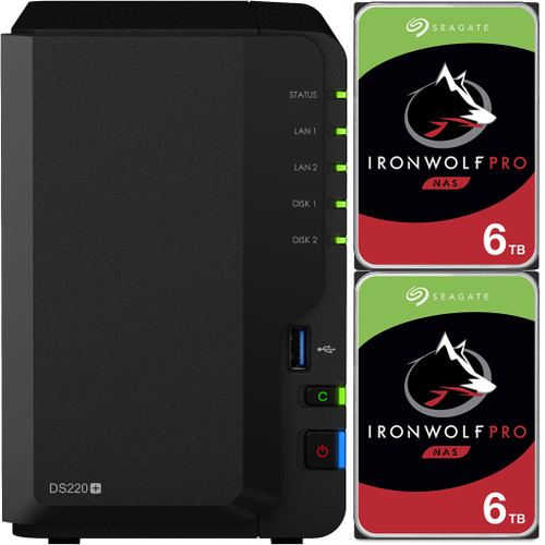 Synology DS220+ 2-BAY DiskStation with 12TB (2x6TB) of Seagate Ironwolf PRO Drives Fully Assembled and Tested