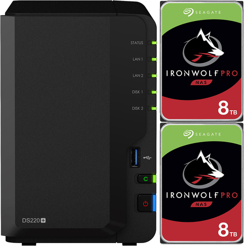 Synology DS220+ 2-BAY DiskStation with 16TB (2x8TB) of Seagate Ironwolf PRO Drives Fully Assembled and Tested