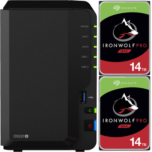 Synology DS220+ 2-BAY DiskStation with 28TB (2x14TB) of Seagate Ironwolf PRO Drives Fully Assembled and Tested