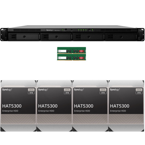 RS1619xs+ 4-BAY RackStation with 32GB RAM and 32TB (4 x 8TB) of HAT5300 Synology Enterprise Drives