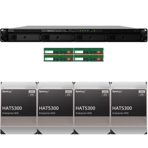 RS1619xs+ 4-BAY RackStation with 64GB RAM and 32TB (4 x 8TB) of HAT5300 Synology Enterprise Drives