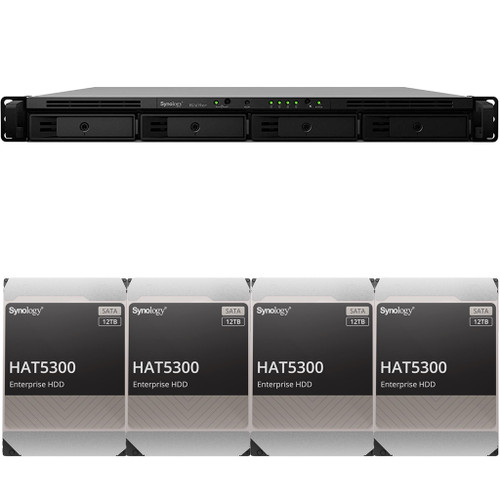 RS1619xs+ 4-BAY RackStation with 8GB RAM and 48TB (4 x 12TB) of HAT5300 Synology Enterprise Drives