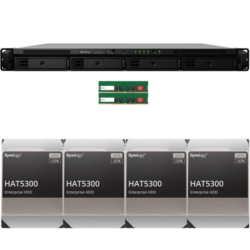 RS1619xs+ 4-BAY RackStation with 32GB RAM and 48TB (4 x 12TB) of HAT5300 Synology Enterprise Drives
