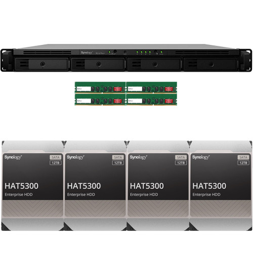 RS1619xs+ 4-BAY RackStation with 64GB RAM and 48TB (4 x 12TB) of HAT5300 Synology Enterprise Drives