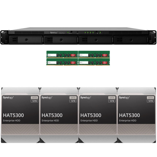 RS1619xs+ 4-BAY RackStation with 64GB RAM and 64TB (4 x 16TB) of HAT5300 Synology Enterprise Drives