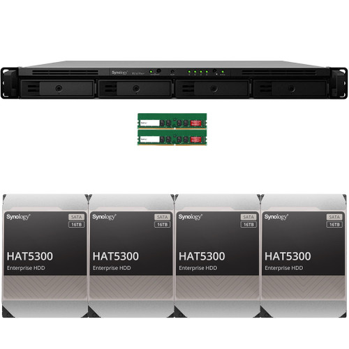 RS1619xs+ 4-BAY RackStation with 32GB RAM and 64TB (4 x 16TB) of HAT5300 Synology Enterprise Drives