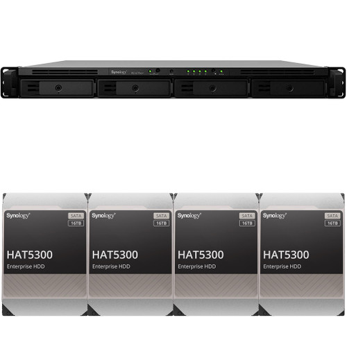 RS1619xs+ 4-BAY RackStation with 8GB RAM and 64TB (4 x 16TB) of HAT5300 Synology Enterprise Drives