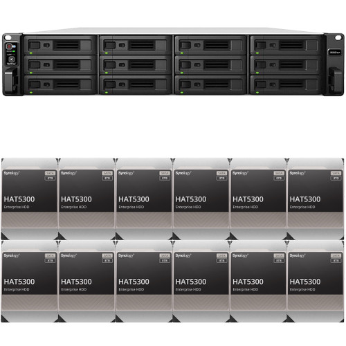 RS3621xs+ 12-BAY RackStation with 8GB RAM and 96TB (12 x 8TB) of HAT5300 Synology Enterprise Drives