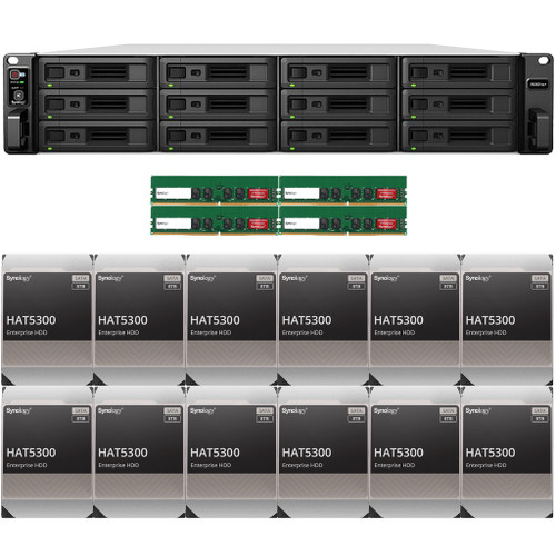 RS3621xs+ 12-BAY RackStation with 64GB RAM and 96TB (12 x 8TB) of HAT5300 Synology Enterprise Drives
