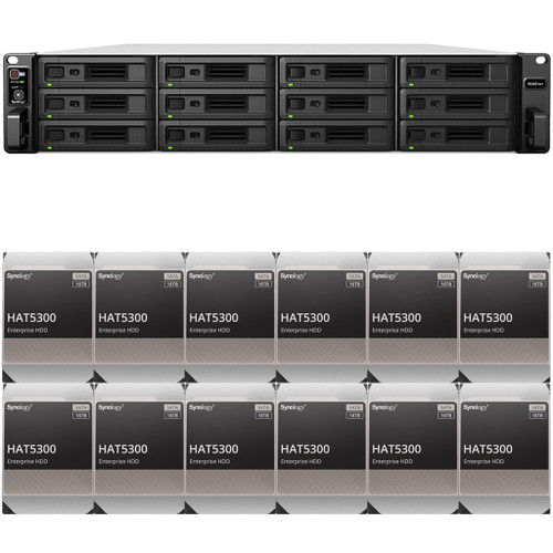 RS3621xs+ 12-BAY RackStation with 8GB RAM and 192TB (12 x 16TB) of HAT5300 Synology Enterprise Drives