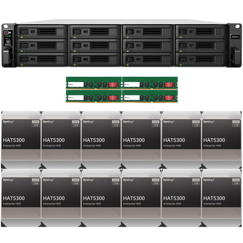RS3621xs+ 12-BAY RackStation with 64GB RAM and 144TB (12 x 12TB) of HAT5300 Synology Enterprise Drives