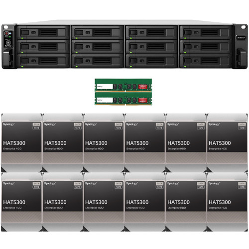 RS3621xs+ 12-BAY RackStation with 16GB RAM and 192TB (12 x 16TB) of HAT5300 Synology Enterprise Drives