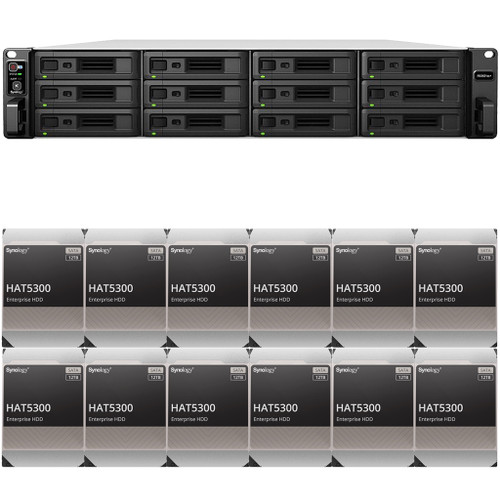 RS3621xs+ 12-BAY RackStation with 8GB RAM and 144TB (12 x 12TB) of HAT5300 Synology Enterprise Drives