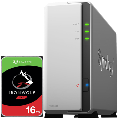 Synology D120j 1-BAY DiskStation with a 16TB Seagate Ironwolf NAS Drive Fully Assembled and Tested