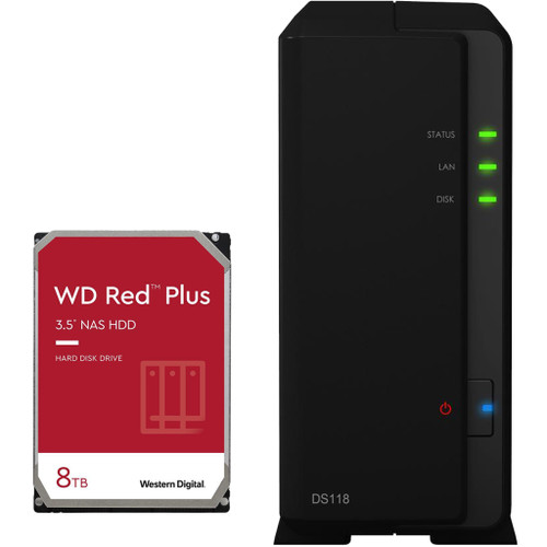 Synology D118 1-BAY DiskStation with a 8TB Western Digital RED PLUS Drive Fully Assembled and Tested