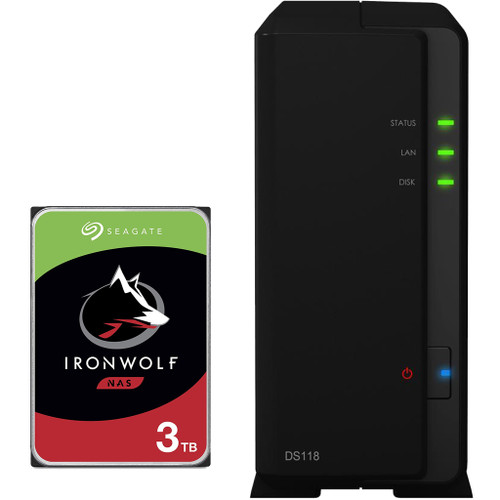 Synology D118 1-BAY DiskStation with a 3TB Seagate Ironwolf NAS Drive Fully Assembled and Tested