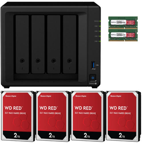 Synology DS920+ 4-BAY DiskStation with 8GB RAM and 8TB (4x2TB) Western Digital Red Plus NAS Drives Fully Assembled and Tested