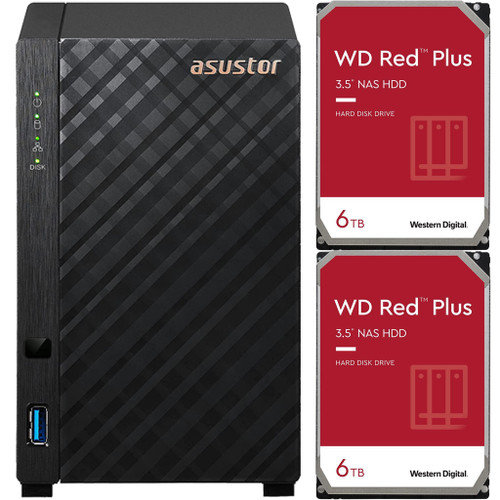 Asustor AS1102T 2-Bay Drivestor 2 NAS with 1GB RAM and 12TB (2x6TB) Western Digital RED Plus Drives Fully Assembled and Tested