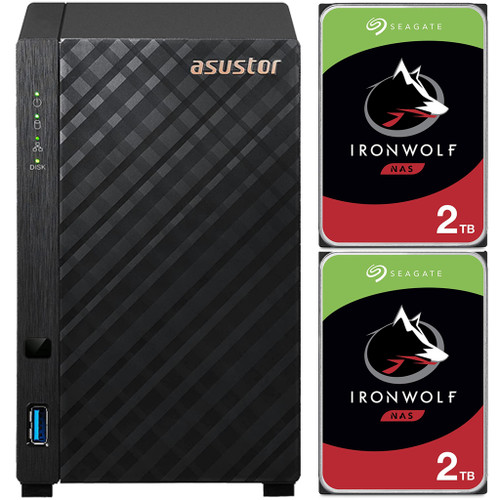 Asustor AS1102T 2-Bay Drivestor 2 NAS with 1GB RAM and 4TB (2x2TB) Seagate Ironwolf NAS Drives Fully Assembled and Tested