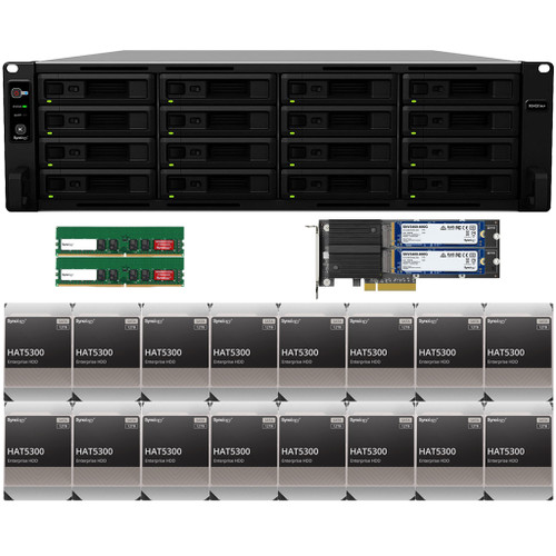 RS4021xs+ 16-BAY RackStation with 32GB RAM, M2D20 with 1.6TB (2x800GB) Synology CACHE, and 192TB (16 x 12TB) of HAT5300 Synology Enterprise Drives Fully Assembled and Tested