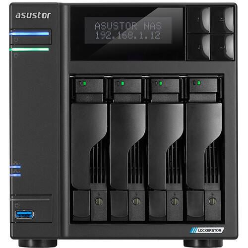 Asustor Lockerstor 4 AS6604T 4-Bay NAS,  4GB RAM, 500GB (2x250GB) NVME Cache and 8TB (4 x 2TB) of Seagate Ironwolf NAS Drives Fully Assembled and Tested