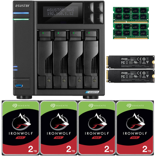 Asustor Lockerstor 4 AS6604T 4-Bay NAS,  8GB RAM, 500GB (2x250GB) NVME Cache and 8TB (4 x 2TB) of Seagate Ironwolf NAS Drives Fully Assembled and Tested
